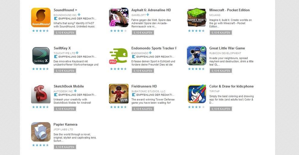 Sonderangebote: SwiftKey, SoundHound, Minecraft und mehr Apps für 10 Cent im Market [UPDATE]