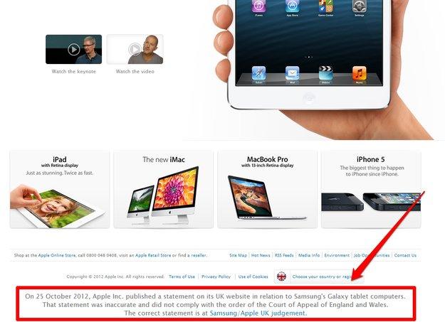 Apple vs. Samsung: Überarbeitetes Statement auf apple.com/uk online