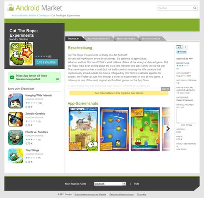 Cut the Rope 2 Fake: Android Market