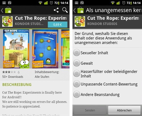 cut the rope betrug melden