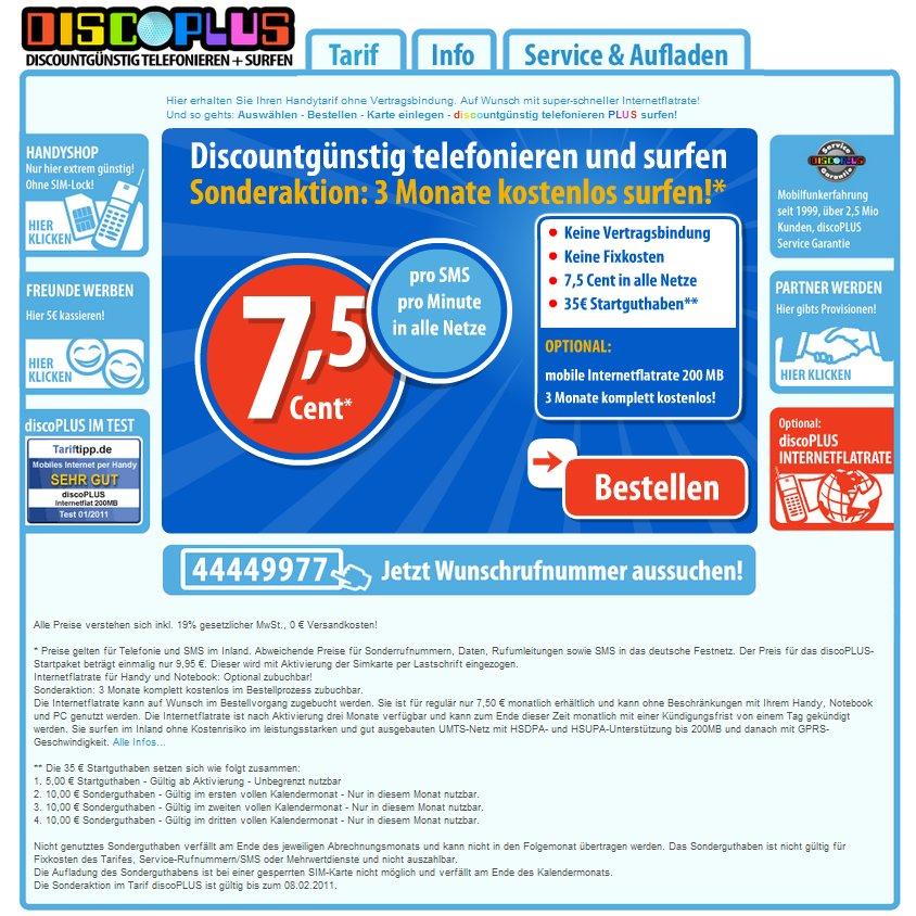 3 Monate Datenflat kostenlos + billiger Prepaid-Tarif: discoPLUS [Deal]