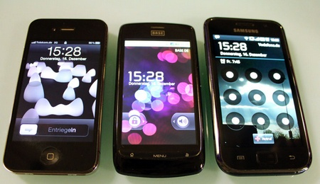 Displayvergleich: iPhone 4, Base Lutea, Samsung Galaxy S