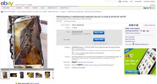 ebay samsung galaxy s3 microwaved