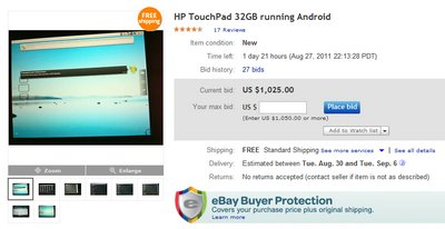 ebay hp touchpad froyo