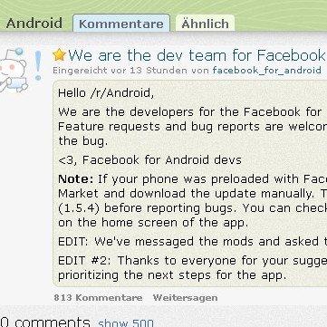 Facebook-App: Community darf auf reddit Vorschläge machen
