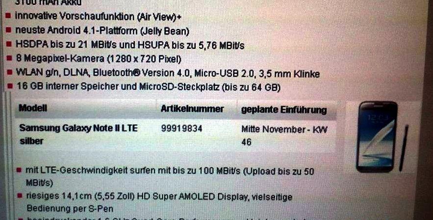 Samsung: Termine für LTE-Versionen von Galaxy Note 2, Galaxy Note 10.1 &amp&#x3B; Galaxy S3 geleakt