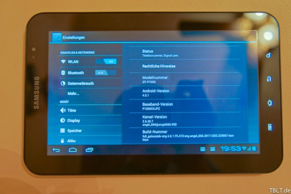 Samsung Galaxy Tab 7: Android Ice Cream Sandwich im Video