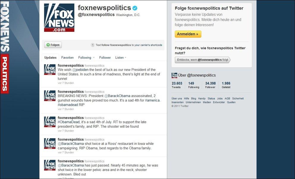 Fox News - Twitter Account gehackt, Obama für tot erklärt