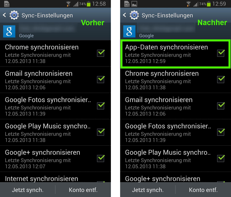 Google play synchronisieren