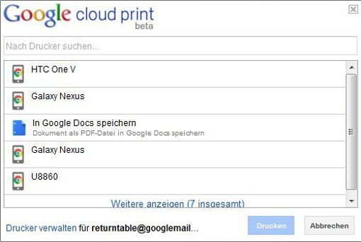 Google Cloud Print: Dokumente als PDF an Chrome für Android senden