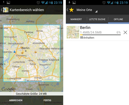 google maps offline cache