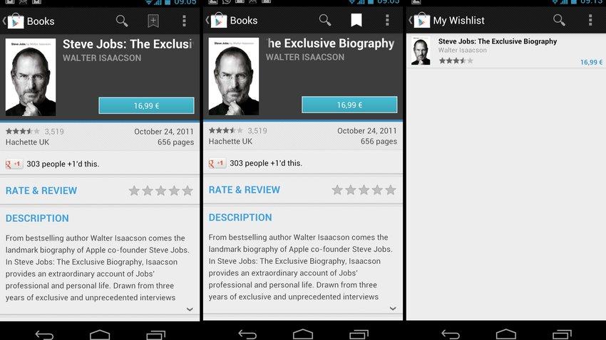 Google Play Store: Wunschlisten für Apps, Bücher und Filme