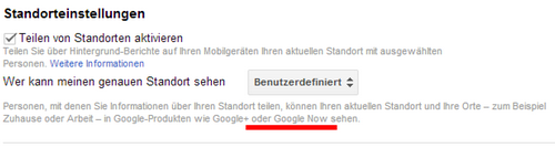 google+ location in google now