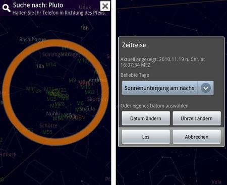 Google Sky Map Pluto/Zeitmaschine