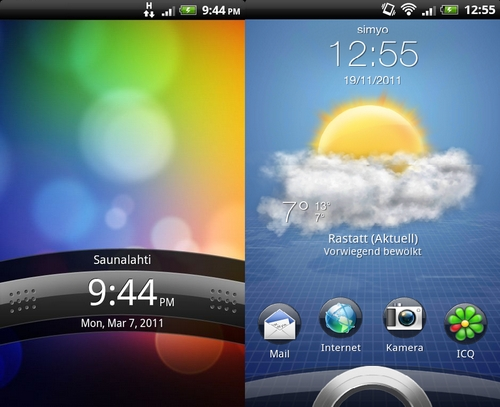 htc sense lockscreens 2.1 vs 3.0