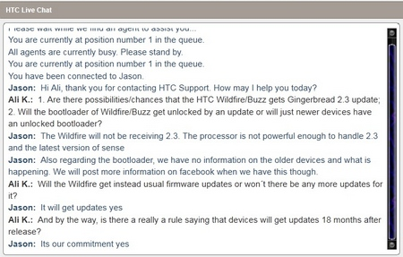 htc wildfire gingerbrad support chat