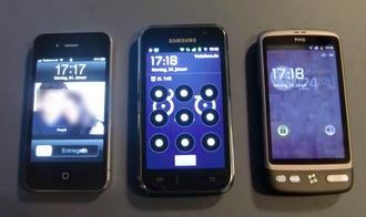 Größenvergleich: iPhone 4, Samsung Galaxy S, HTC Desire