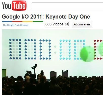 Google I/O 2011: Keynote nun bei YouTube