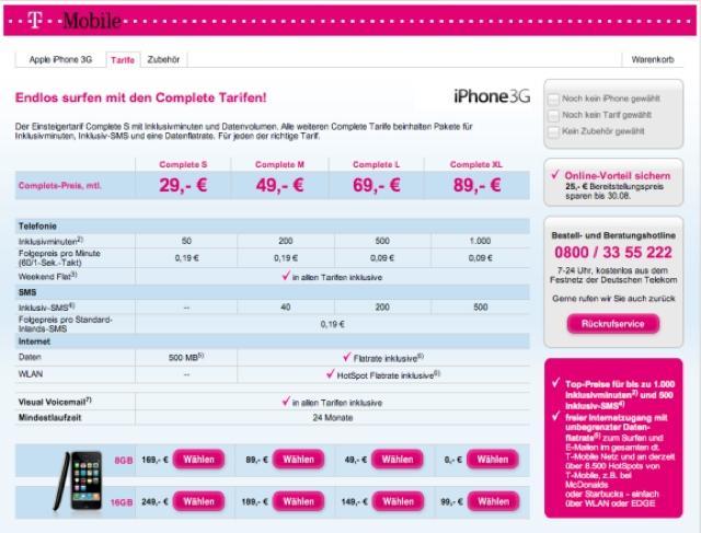 Welt: iphone 3g zwischen 0 und 249 euro bei t-mobile