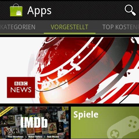 Android Market-App: Alles anders, alles neu -- so kommt man an das Update