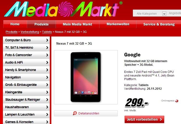 Nexus 7: 3G-Version bei Media Markt für 299 Euro vorbestellbar