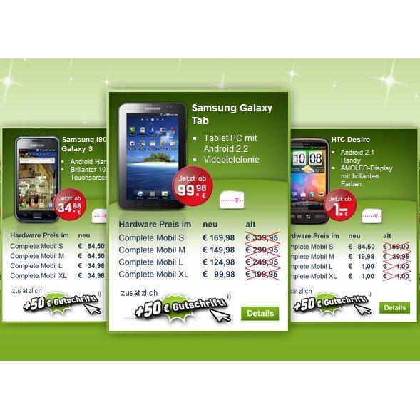 HTC Desire, Samsung Galaxy S &amp&#x3B; Tab: 50% Rabatt bei mobilcom-debitel