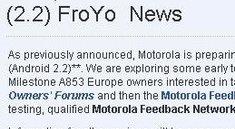 Motorola Milestone: Froyo im geschlossenen Beta-Test
