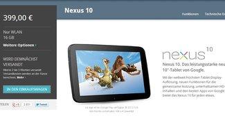 Nexus 10: Wieder im Play Store, Verfügbarkeits-Übersicht nach Ländern geordnet