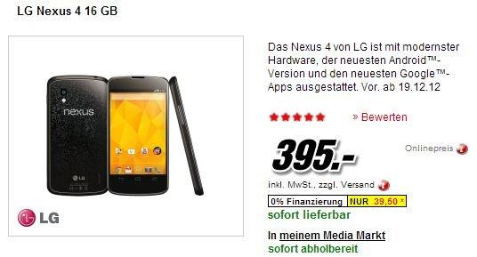 Nexus 4: Bei Media Markt wieder erhältlich