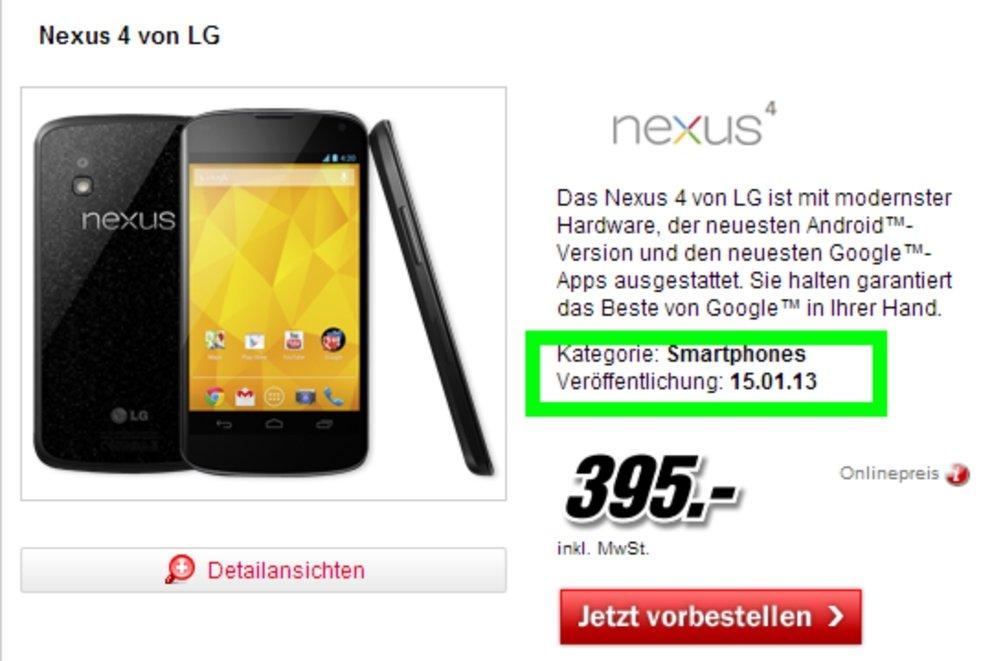 Nexus 4: Start bei Media Markt auf Mitte Januar verschoben