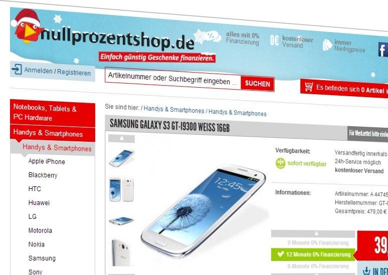 Exklusiv: 20 Euro Rabatt auf Ratenkauf-Geräte bei Nullprozentshop [Deal]