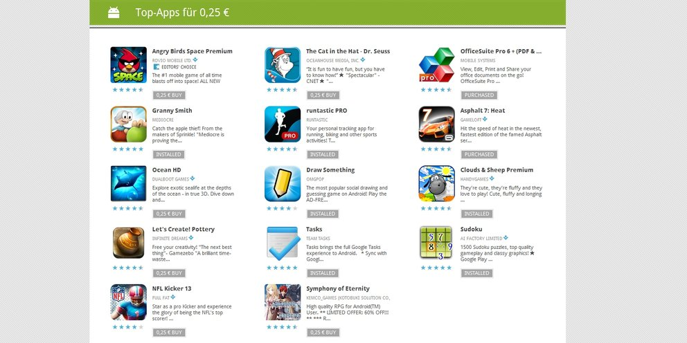 Apps für 25 Cent: Tag 1 mit Runtastic, Office, Sudoku, Asphalt &amp&#x3B; mehr
