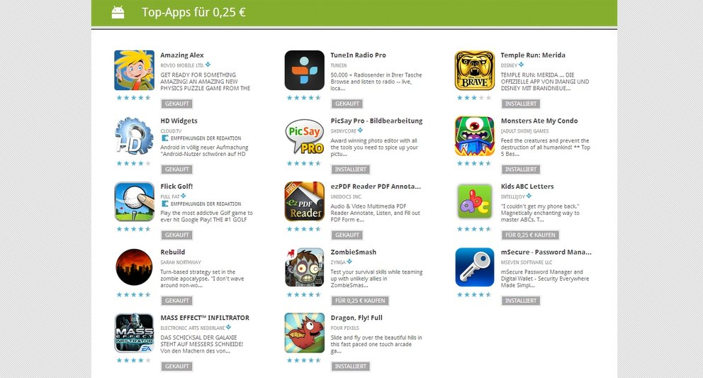 25 Cent-Apps: Tag 3 mit HD Widgets, Amazing Alex, ezPDF, Mass Effect Infiltrator &amp&#x3B; mehr
