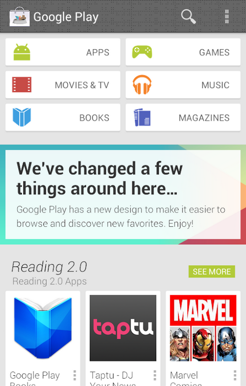 play store redesign