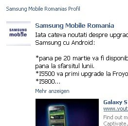 Samsung Galaxy S: Gingerbread noch im März?