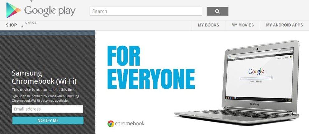 Samsung Chromebook: Im Google Play Store gelistet und schon ausverkauft