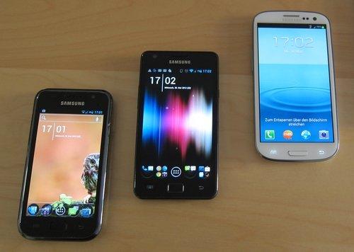 Samsung galaxy s, s2 und s3 - familientreffen
