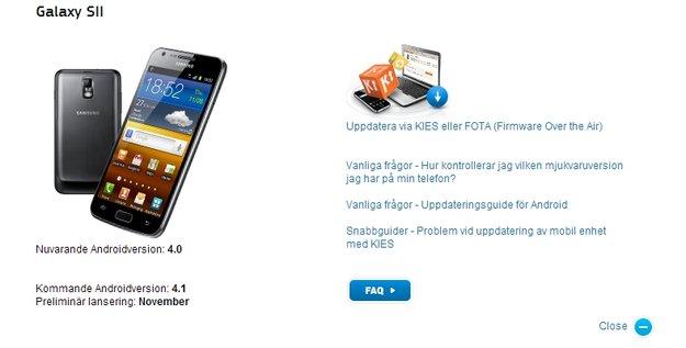 Samsung Galaxy S2, Note: Jelly Bean-Updates noch dieses Jahr
