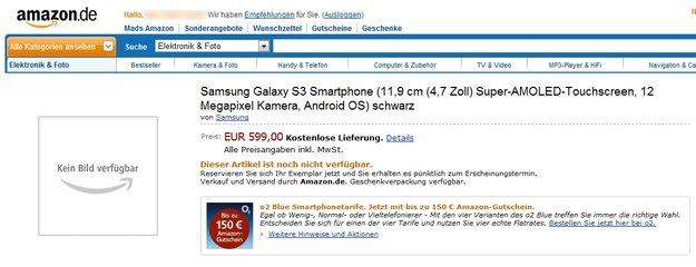 Samsung Galaxy S3: Bei Amazon.de vorbestellbar, Specs bestätigt?