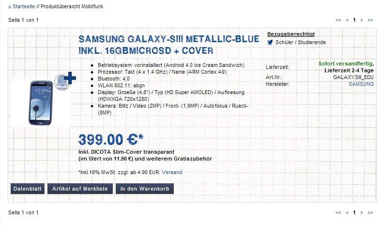 Samsung Galaxy S3: Mit Zubehör für 399 Euro für Studenten und Schüler [Deal]