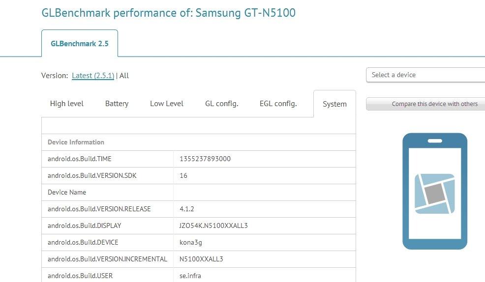 Samsung Galaxy Note N5100: Benchmark weist auf Note-Zwischengröße hin