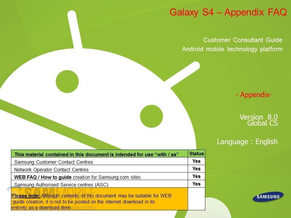 Samsung Galaxy S4: Handbuch für Kundendienst-Mitarbeiter geleakt [PDF-Download]