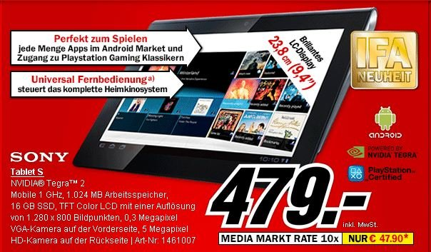 Sony Tablet S ab morgen bei Media Markt