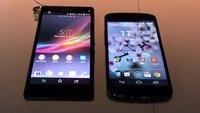 Sony Xperia Z vs. Nexus 4: High End-Smartphones im Videovergleich [CES 2013]