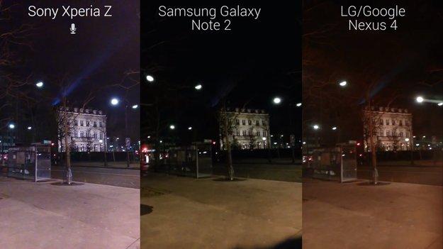 Sony Xperia Z: Nachtvideo-Vergleich mit Samsung Galaxy Note 2 und Nexus 4