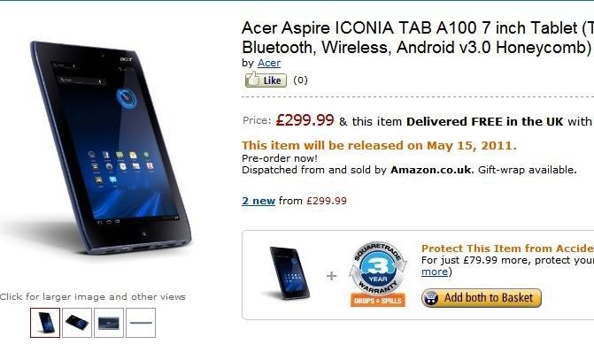 Acer Icona Tab A500 &amp&#x3B; A100 erst ab Mai? Preise ab 299Pfund! (Update)
