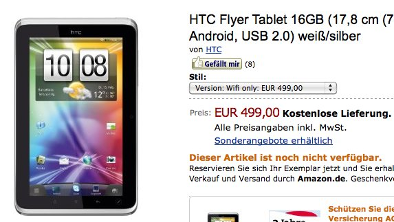 Neu auf Amazon: BlackBerry PlayBook, LG Optimus Pad und HTC Flyer Wifi-only