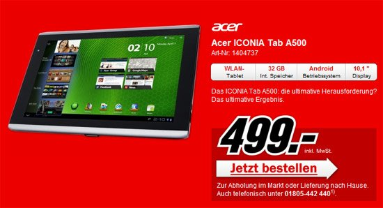 Acer Iconia Tab für 499€ bei Media Markt (Update)