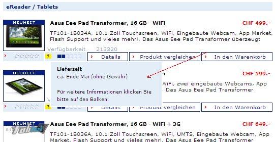 Asus Eee Pad Transformer Verfügbarkeit erst ab Mai / Juni?