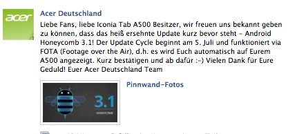 Acer Iconia Tab A500 bekommt Update auf Android 3.1 am 05. Juli (Offiziell)